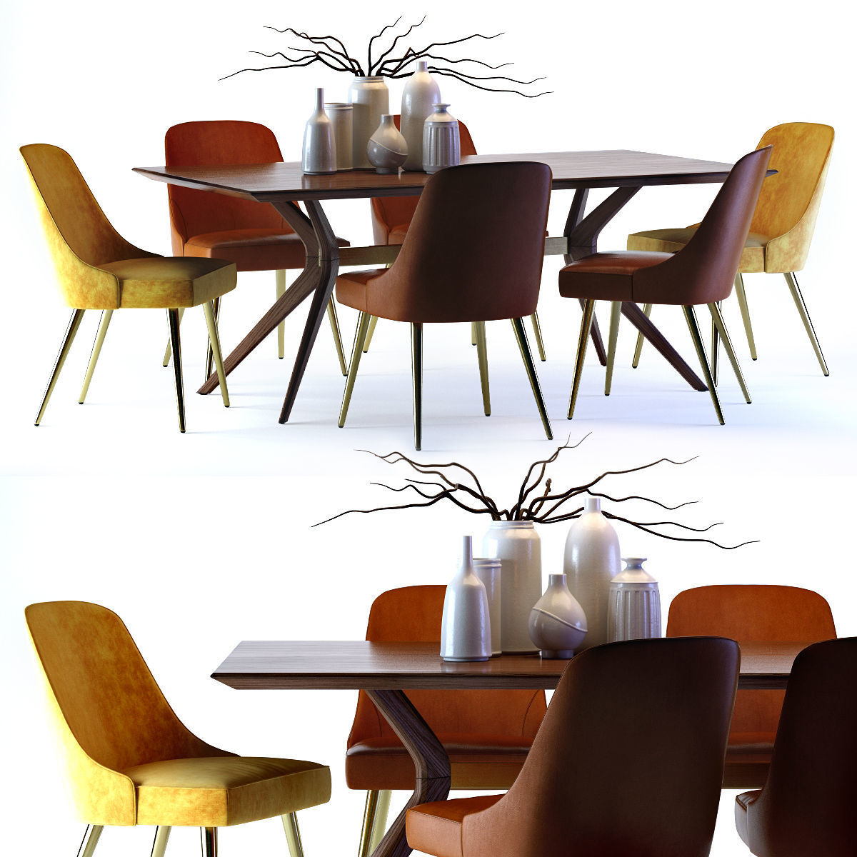 West Elm Mid Century Leather Chair And Wright Table | 3D Model Regarding Recent West Dining Tables (View 23 of 25)