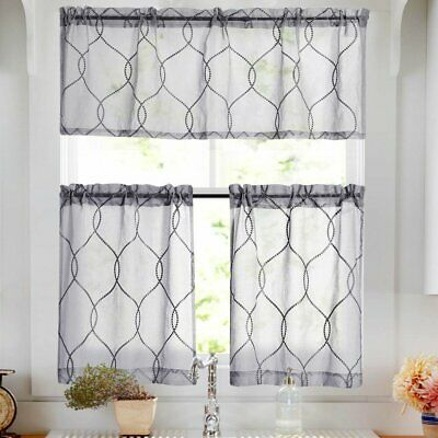 White 3 Piece Kitchen Curtains Valance & Tiers Cafe Curtains Throughout Geometric Print Microfiber 3 Piece Kitchen Curtain Valance And Tiers Sets (View 16 of 25)