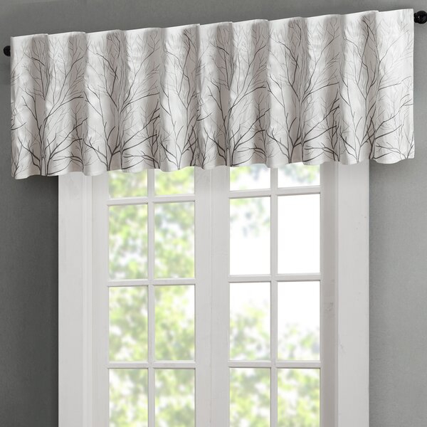 White And Navy Valance | Wayfair Inside Tree Branch Valance And Tiers Sets (View 5 of 25)