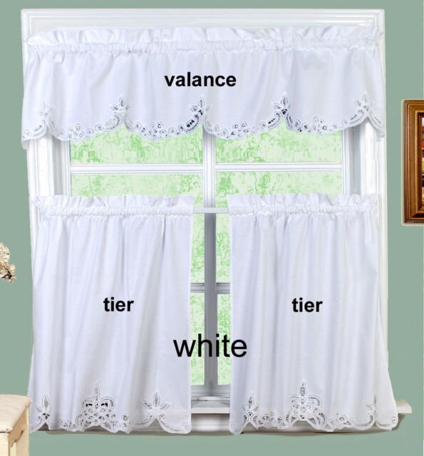 White Battenburg Lace Kitchen Curtain Valance Or Tiers Creative Linens Inside Floral Lace Rod Pocket Kitchen Curtain Valance And Tiers Sets (View 4 of 25)