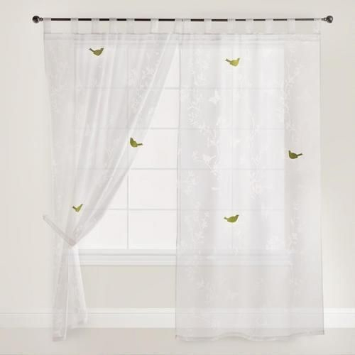 White Bird And Botanical Burnout Curtain Regarding Grace Cinnabar 5 Piece Curtain Tier And Swag Sets (View 18 of 25)