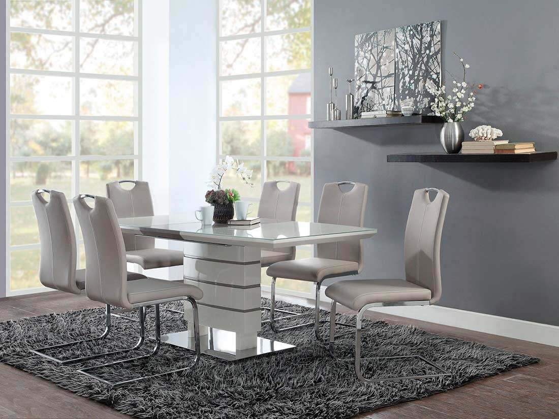White Extendable Dining Table He 599 | Urban Transitional Pertaining To Newest Mateo Extending Dining Tables (View 14 of 25)