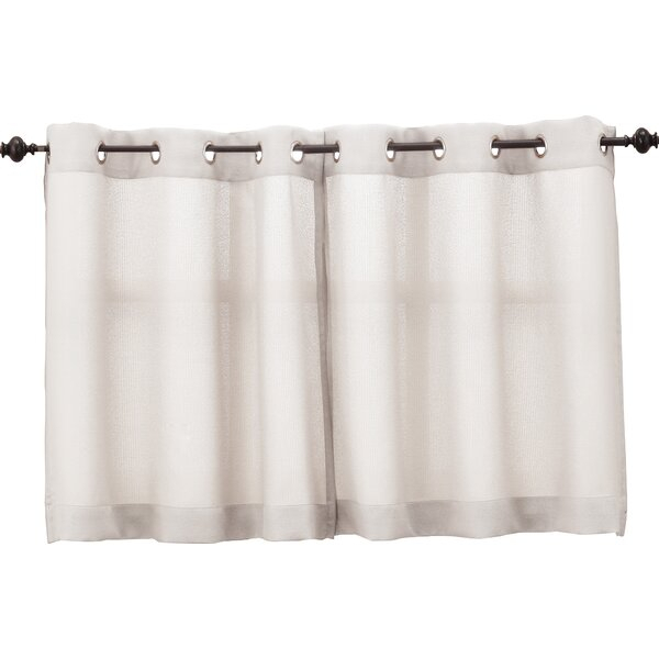 White Eyelet Cafe Curtains | Wayfair In White Tone On Tone Raised Microcheck Semisheer Window Curtain Pieces (Image 24 of 25)