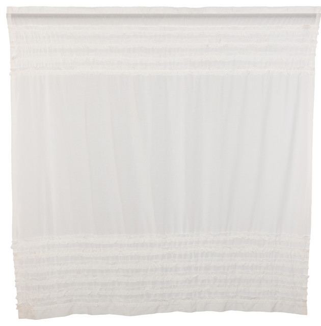 White Farmhouse Bath Simplicity Cambric White Ruffled Sheer Petticoat Rod Pocket Inside White Ruffled Sheer Petticoat Tier Pairs (View 4 of 25)