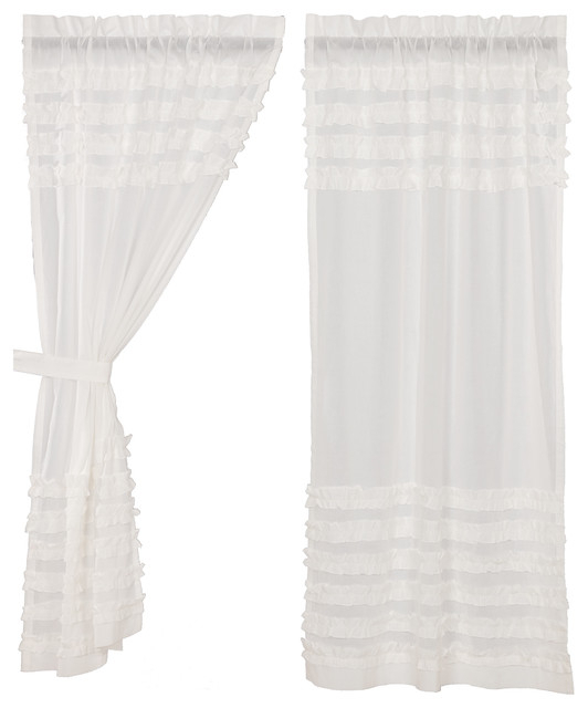 Featured Image of Rod Pocket Cotton Solid Color Ruched Ruffle Kitchen Curtains
