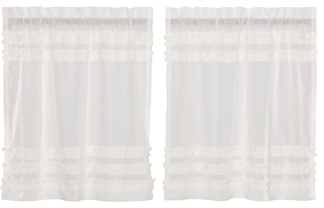 White Farmhouse Kitchen Curtains Tier Rod Pocket Cotton Solid Color Sheer, Set O Regarding Rod Pocket Cotton Solid Color Ruched Ruffle Kitchen Curtains (View 2 of 25)