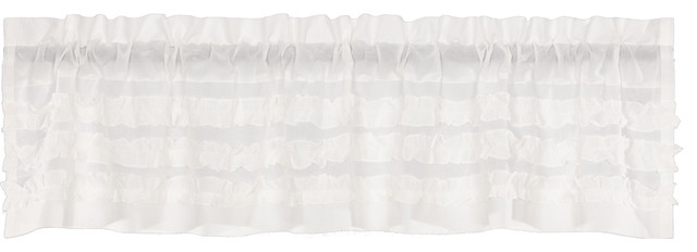 White Farmhouse Kitchen Curtains Valance Rod Pocket Cotton Solid Color Sheer In Rod Pocket Cotton Solid Color Ruched Ruffle Kitchen Curtains (View 8 of 25)