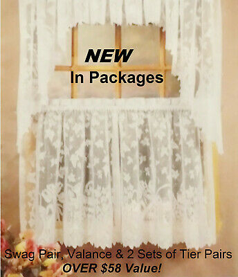 White Lace Cafe Kitchen Curtain Window Tiers Valance & Swag Set New In Packages | Ebay Regarding White Knit Lace Bird Motif Window Curtain Tiers (View 17 of 25)