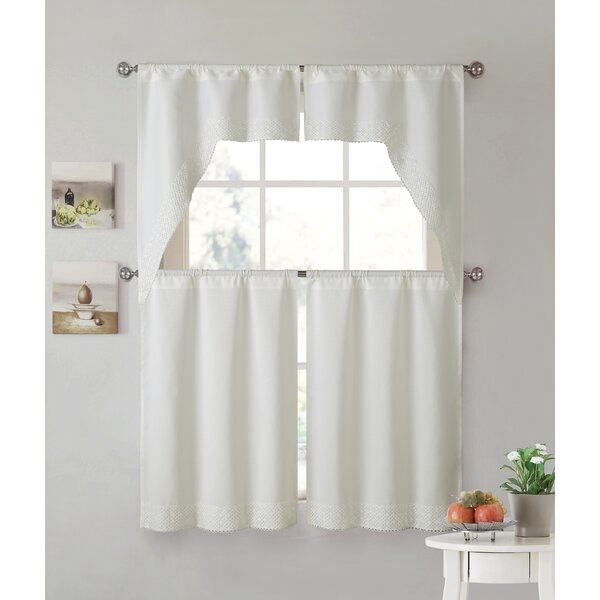 White Lace Kitchen Curtains | Wayfair Intended For Sheer Lace Elongated Kitchen Curtain Tier Pairs (View 22 of 25)
