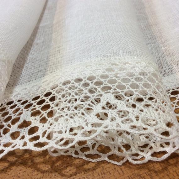 White Linen Curtains Farmhouse Kitchen Cafe Curtain Panels With Farmhouse Kitchen Curtains (View 8 of 25)