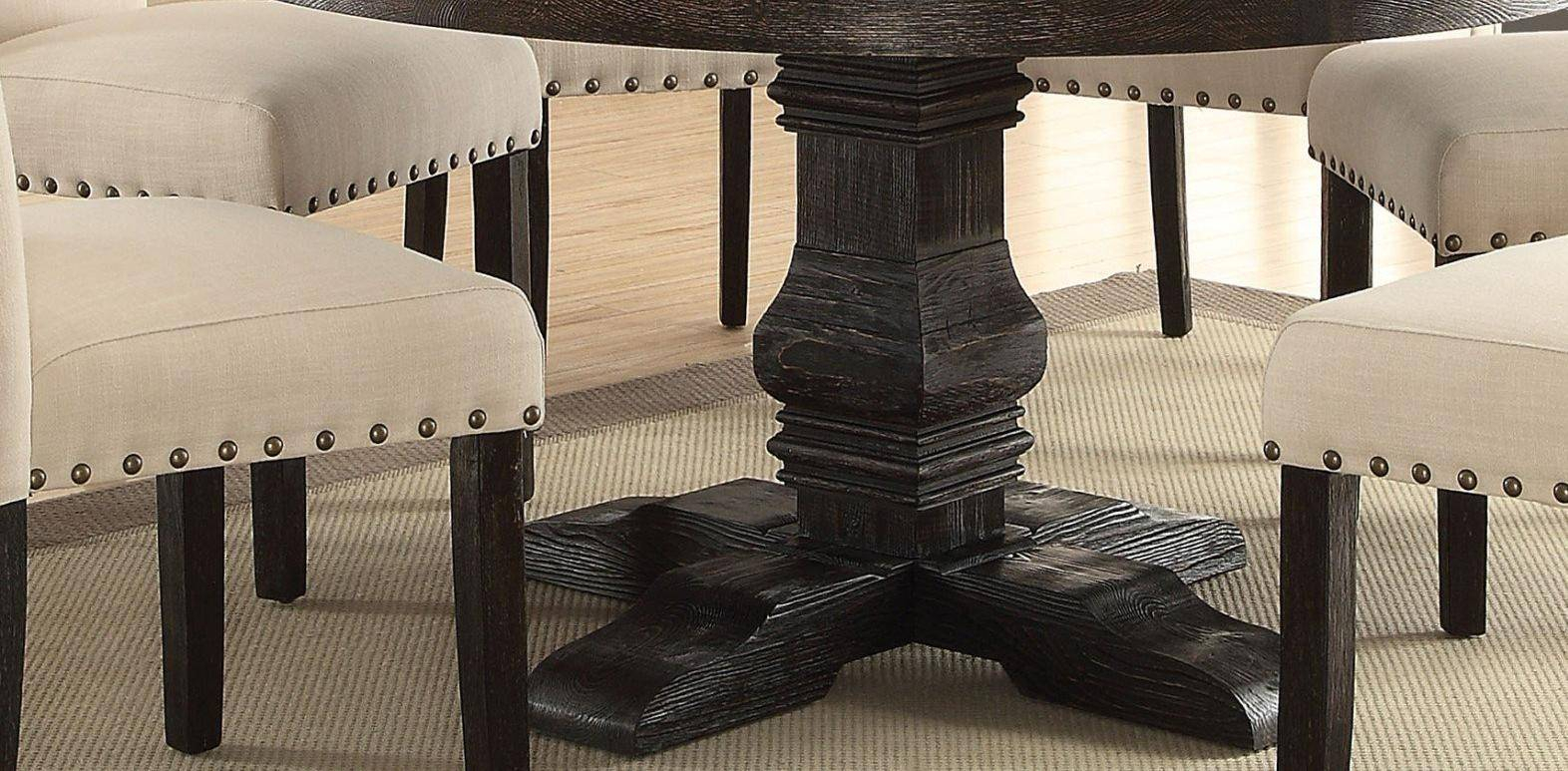 White Marble Top Black Round Dining Table Set 5 Pcs Acme In Newest Nolan Round Pedestal Dining Tables (View 13 of 25)