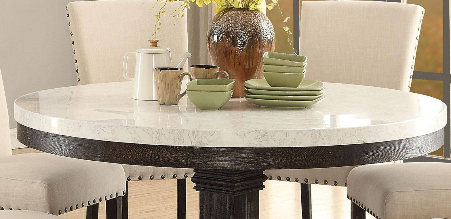White Marble Top Black Round Dining Table Set 5 Pcs Acme Throughout Most Recent Nolan Round Pedestal Dining Tables (View 15 of 25)