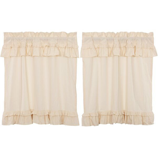 White Muslin Cafe Curtains | Wayfair Regarding Navy Vertical Ruffled Waterfall Valance And Curtain Tiers (View 18 of 25)