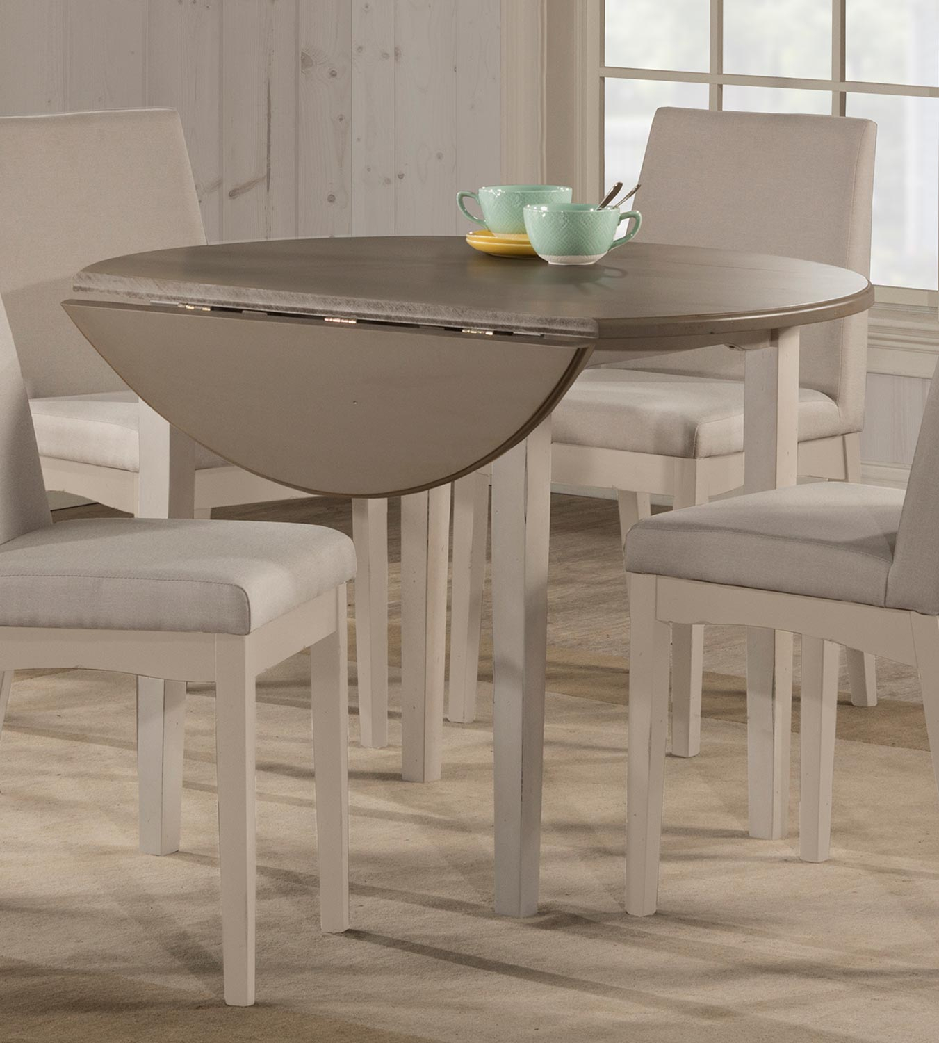 White Round Drop Leaf Table – Martinique In Most Recent Antique White Shayne Drop Leaf Kitchen Tables (View 10 of 25)