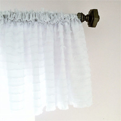 White Ruffle Valance Sheer Extra Wide Window Treatment – Nursery, Kitchen | Ebay Regarding Navy Vertical Ruffled Waterfall Valance And Curtain Tiers (View 13 of 25)
