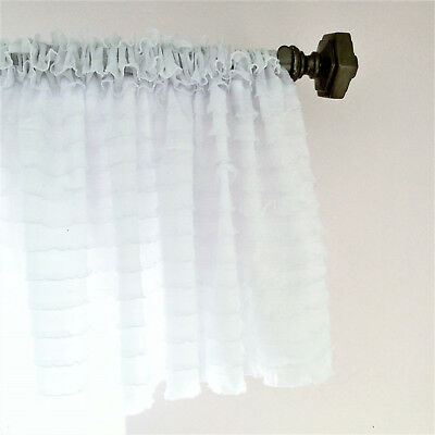 White Ruffle Valance Sheer Extra Wide Window Treatment – Nursery, Kitchen |  Ebay Throughout Vertical Ruffled Waterfall Valances And Curtain Tiers (Image 25 of 25)