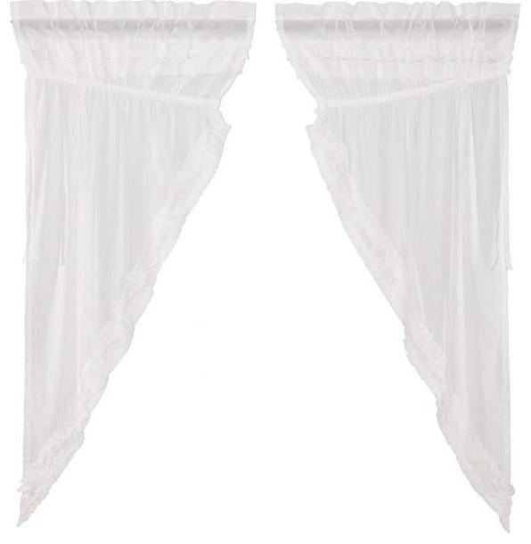 White Ruffled Sheer Petticoat Prairie Short Panel In White Ruffled Sheer Petticoat Tier Pairs (View 15 of 25)