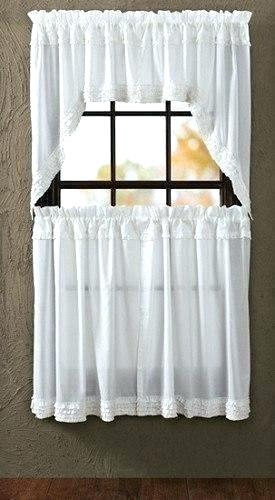 White Ruffled Sheer Swag Curtains In House Lace Valance Home Inside White Ruffled Sheer Petticoat Tier Pairs (View 17 of 25)