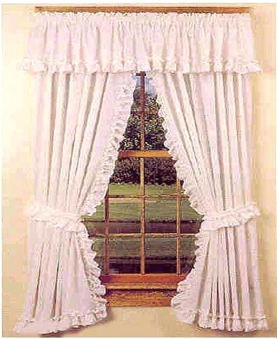 White Ruffled Valance Cape Cod Ruffle Kitchen Curtains Swags Regarding Simple Life Flax Tier Pairs (View 23 of 25)