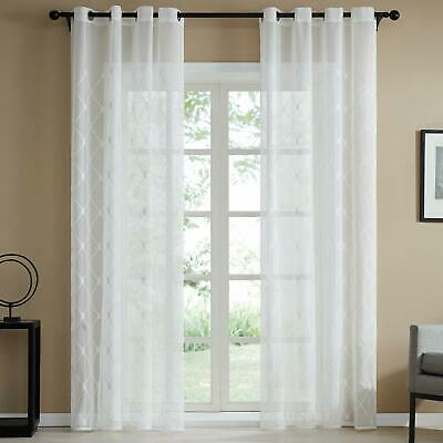 "White Semi Sheer Curtains Moroccan Panels Bedroom 54"" W X 84 Pertaining To White Micro Striped Semi Sheer Window Curtain Pieces (Image 24 of 25)"