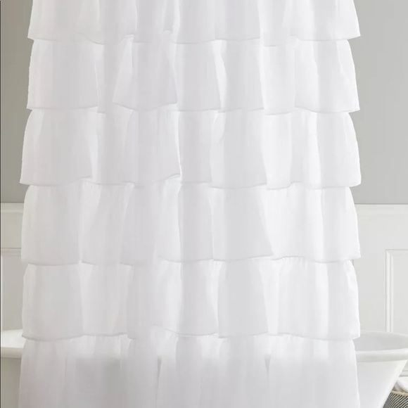 White Shabby Chic Shower Curtain Within Elegant Crushed Voile Ruffle Window Curtain Pieces (View 24 of 25)