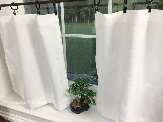 White Valance. White Cafe Curtains. Slub Linen Look Tiers Kitchen Curtain. Kitchen Valance (View 11 of 25)