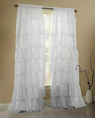 White Window Treatment Curtain Crushed Sheer Panel Drape Gypsy Ruffle Style | Ebay Intended For Elegant Crushed Voile Ruffle Window Curtain Pieces (View 3 of 25)