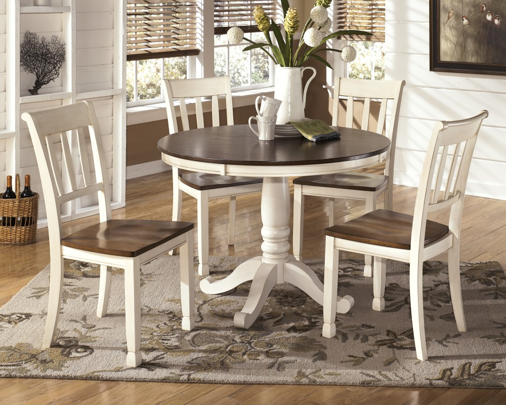 Whitesburg Round Dining Room Table & 4 Side Chairs In 2017 Brooks Round Dining Tables (View 7 of 25)