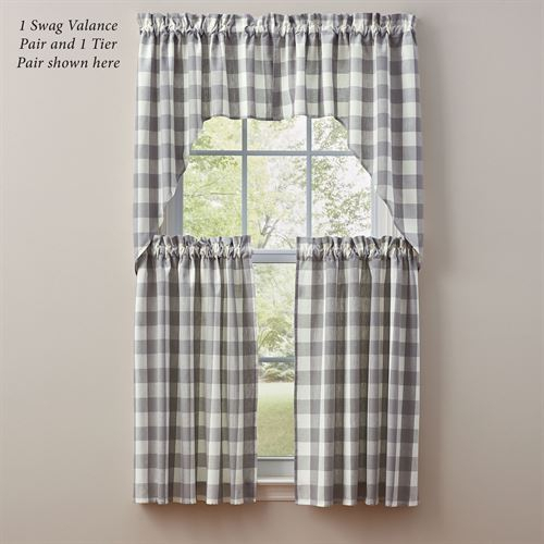 Wicklow Gray Buffalo Check Tier Window Treatment Pertaining To Dove Gray Curtain Tier Pairs (View 24 of 25)