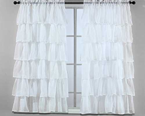 Wide | Draperies & Curtains Pertaining To Elegant Crushed Voile Ruffle Window Curtain Pieces (View 7 of 25)