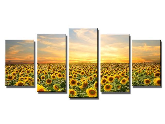 Wieco Art – The Sunflowers – Canvas Print Stretched And Framed Canvas Wall Art For Wall Decorationand Home Decoration Seascape Canvas Art P5Rla007 F1 In Window Curtains Sets With Colorful Marketplace Vegetable And Sunflower Print (View 24 of 25)