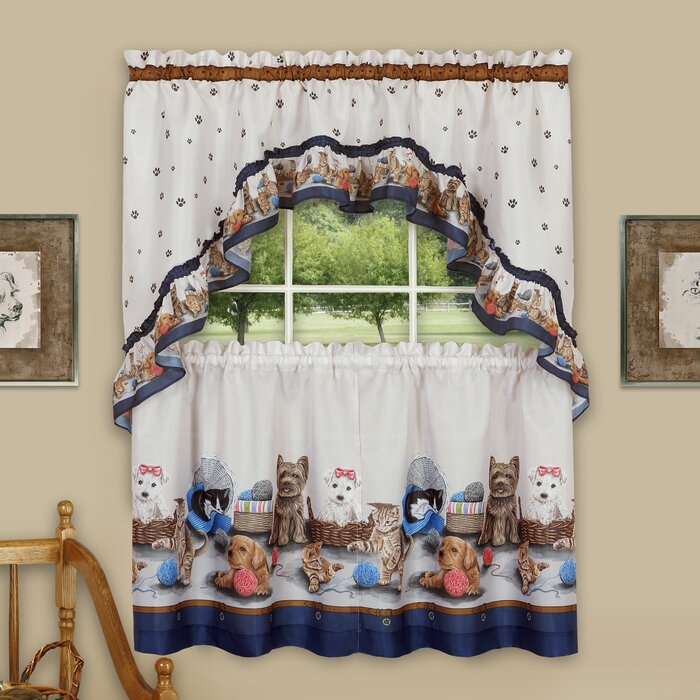 Wieczorek Precious Tier And Swag 3 Piece Kitchen Curtain Set Inside Chocolate 5 Piece Curtain Tier And Swag Sets (View 14 of 25)