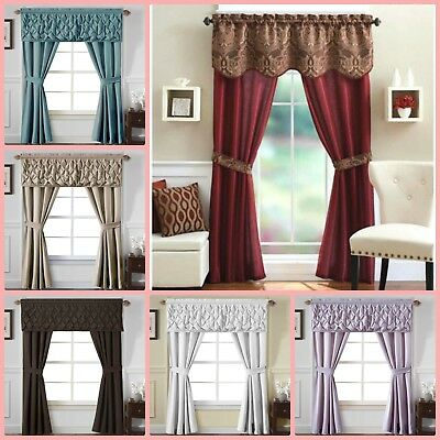 Window 5 Piece Curtain Set 2 Panels Valance Assorted Colors Pertaining To Chocolate 5 Piece Curtain Tier And Swag Sets (View 5 of 25)