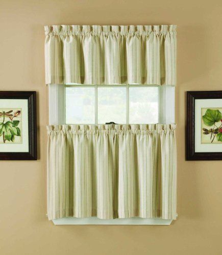 Window Accents Regatta Stripe Tier And Valance Set, 5836 Intended For Window Curtain Tier And Valance Sets (Image 25 of 25)