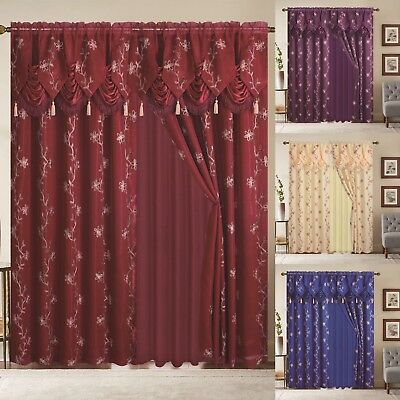 Window Curtain Blue Gold Linda Collection 2 Pcs Set With Pertaining To Luxury Light Filtering Straight Curtain Valances (Image 24 of 25)