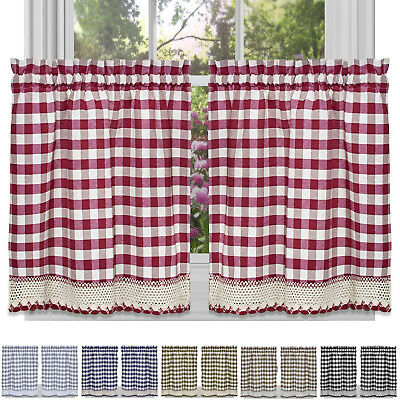 Window Curtain Tier Pair Pack Set Checked Plaid Gingham In Pintuck Kitchen Window Tiers (View 21 of 25)