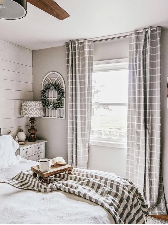Window Pane Plaid Pattern Linen Cotton Blend Textured , Curtains Perfect For Your Farmhouse Or Modern Decor, With Cotton Blend Classic Checkered Decorative Window Curtains (View 10 of 25)