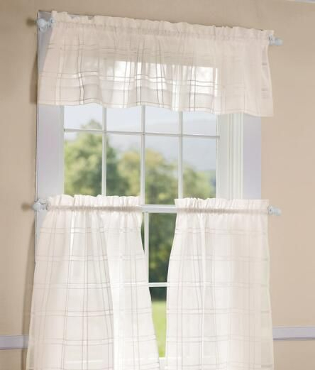Window Pane Sheer Tailored Valance – Country Curtains For Tailored Valance And Tier Curtains (View 5 of 25)