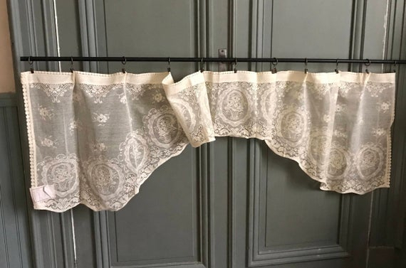 """Window Swag Panel ~ Curtain Panel Vintage Design Scottish Cotton Lace Valance Cafe Curtain Nottingham Lace 78"""" X 24"""" With Cotton Lace 5 Piece Window Tier And Swag Sets (View 16 of 25)"""