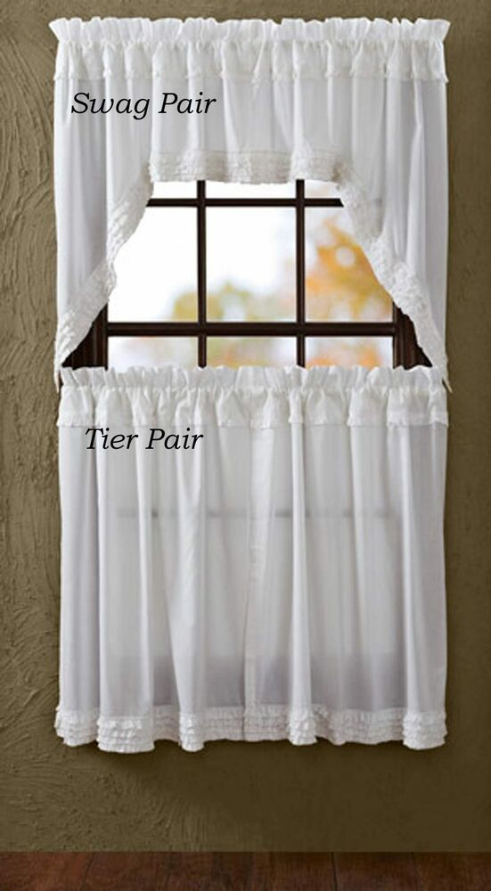 Window Tier Pair Pure White Ruffled Farmhouse Romantic Chic Curtains 24X36 | Ebay In Dexter 24 Inch Tier Pairs In Green (View 6 of 25)