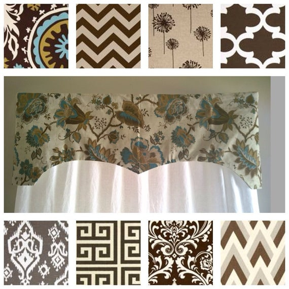 Window Valance, Turquoise Valance, Scalloped Valance, Floral Valance, Brown Valance, Olive Valance, Decorative Valance, Window Treatment Pertaining To Floral Pattern Window Valances (View 19 of 25)