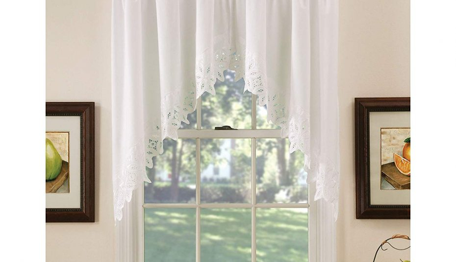 Windows Victory Lace Bell Diy Black Curtain Curtains Swag Intended For Medallion Window Curtain Valances (View 13 of 25)