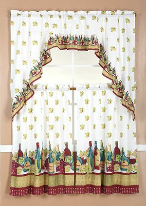 Wine Kitchen Curtains | Wayfair For Chateau Wines Cottage Kitchen Curtain Tier And Valance Sets (View 10 of 25)