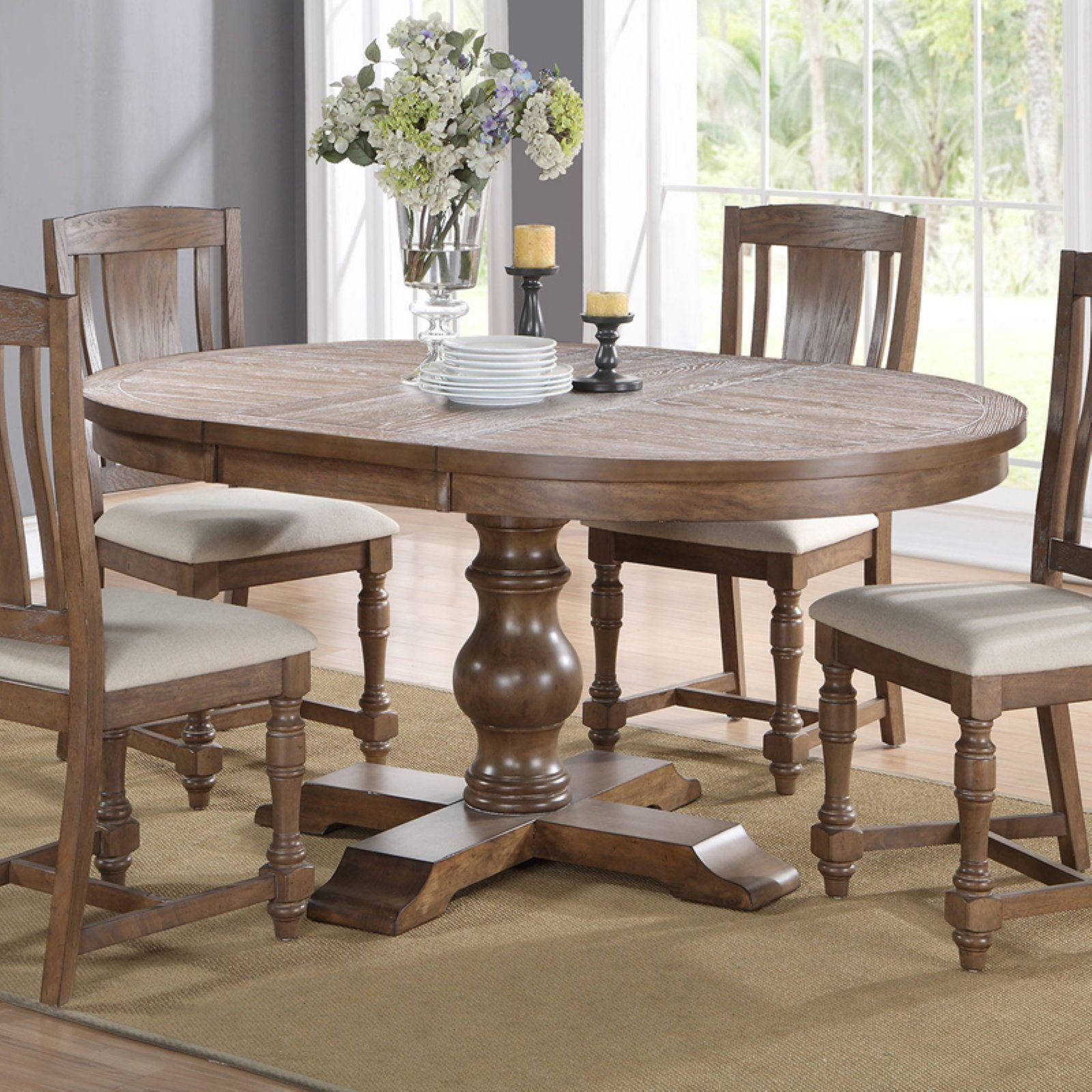Winners Only Xcalibur Pedestal Dining Table | Products In With Regard To Latest Rustic Brown Lorraine Pedestal Extending Dining Tables (View 17 of 25)
