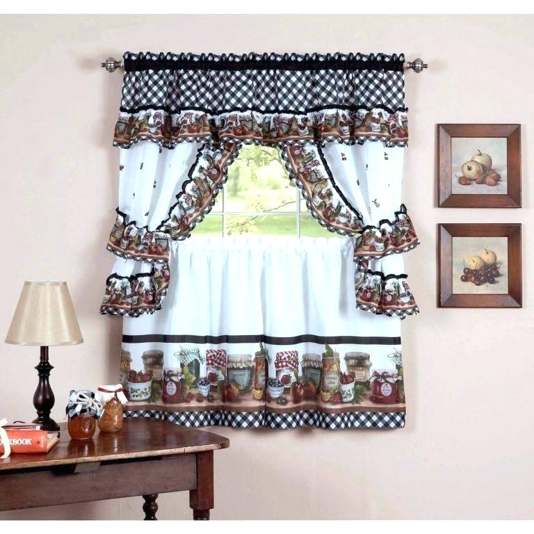 Winsome 3 Piece Kitchen Curtain Sets Kitchenaid Mixer Inside Chocolate 5 Piece Curtain Tier And Swag Sets (View 9 of 25)