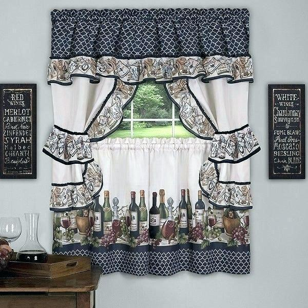 Winsome 3 Piece Kitchen Curtain Sets Kitchenaid Mixer Regarding Scroll Leaf 3 Piece Curtain Tier And Valance Sets (View 12 of 25)
