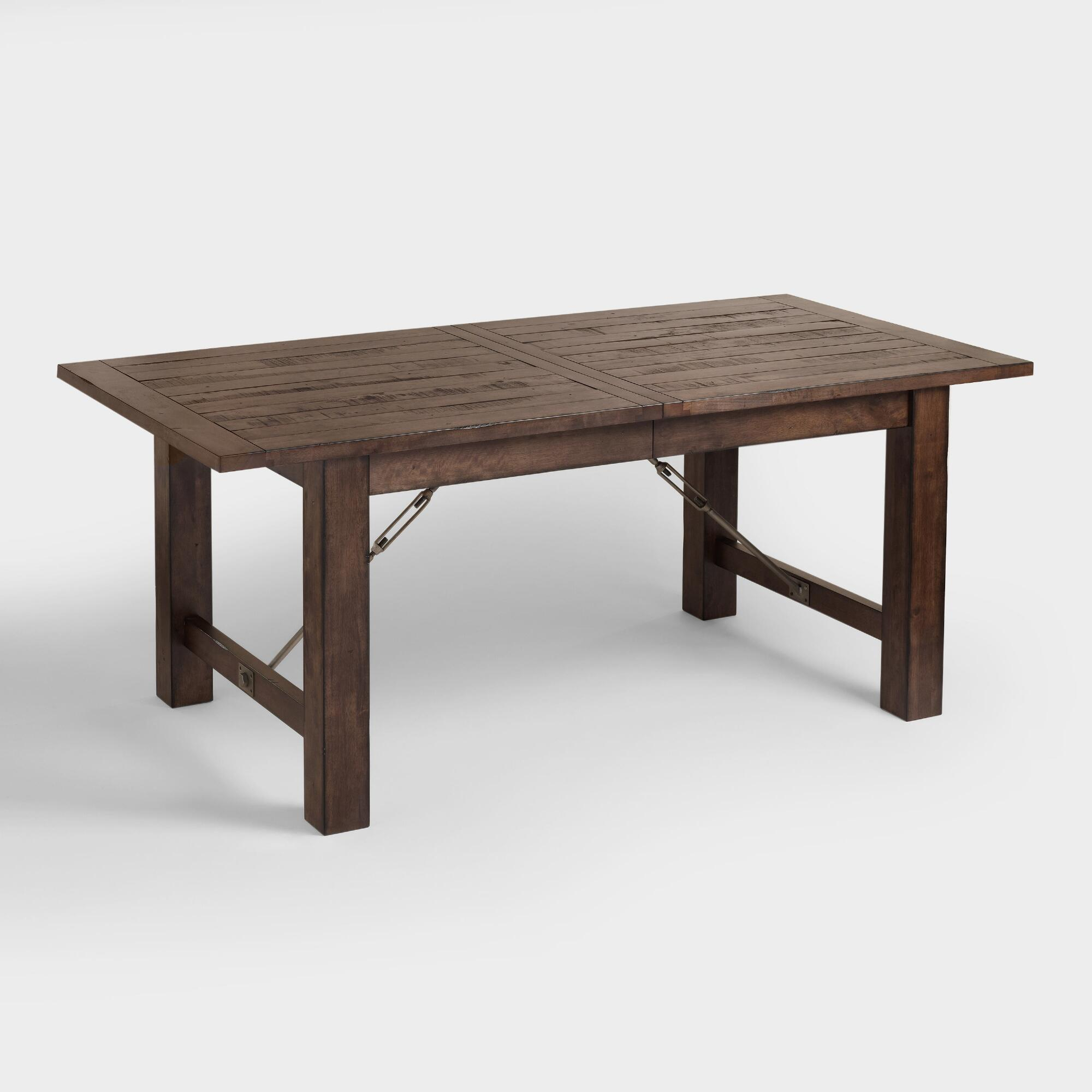 Wood Garner Extension Dining Table: Brownworld Market In For 2018 Blackened Oak Benchwright Extending Dining Tables (View 3 of 25)
