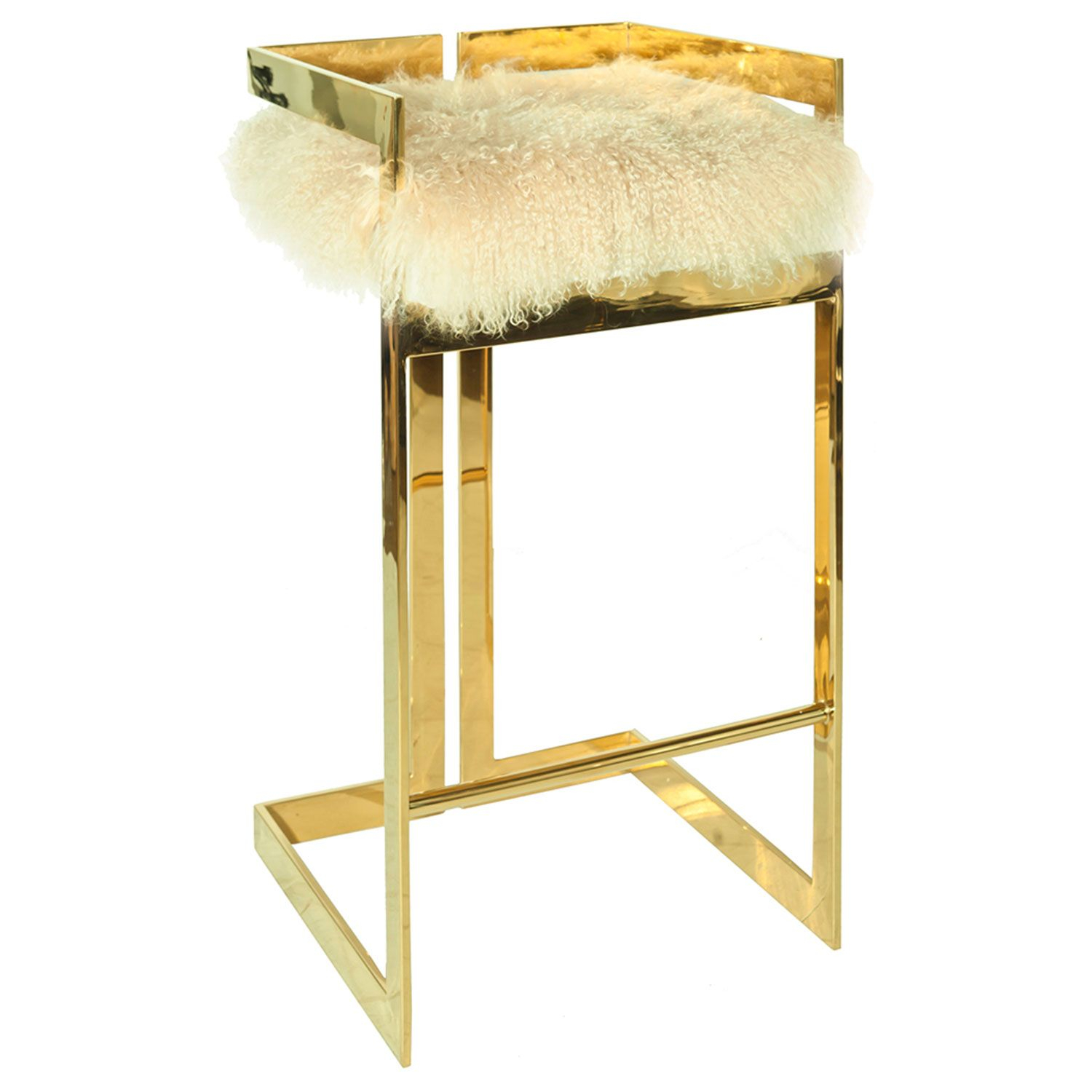 Worlds Away Hearst Mongolian Fur With Brass Bar Stool In Newest Hearst Bar Tables (Image 24 of 25)