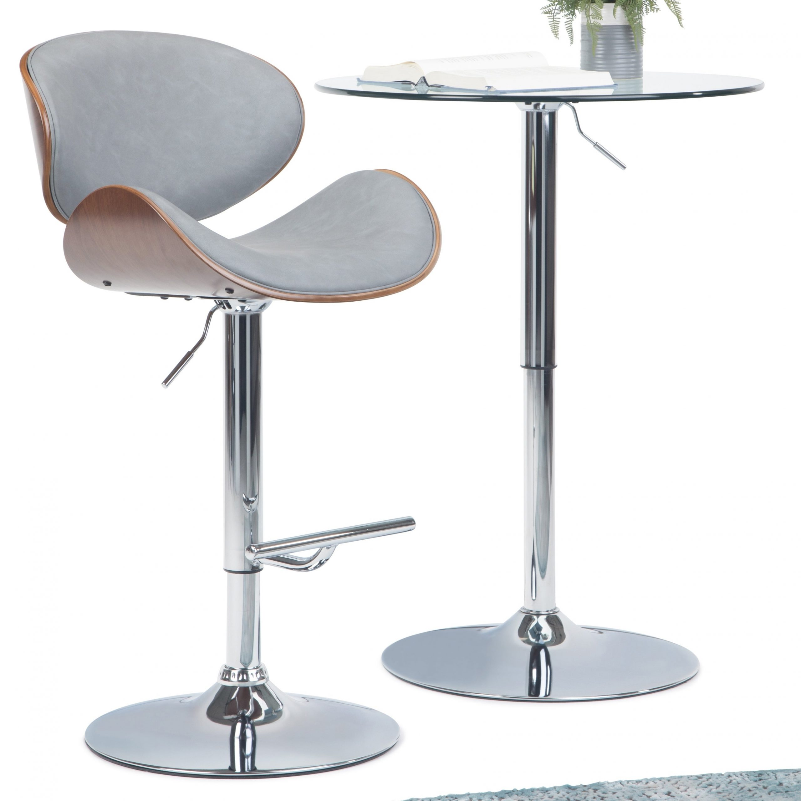 Wyndenhall Avondale Mid Century Modern Bentwood Adjustable Height Gas Lift Bar Stool – 21 W X 20 D X 45 H Intended For Current Avondale Counter Height Dining Tables (View 25 of 25)