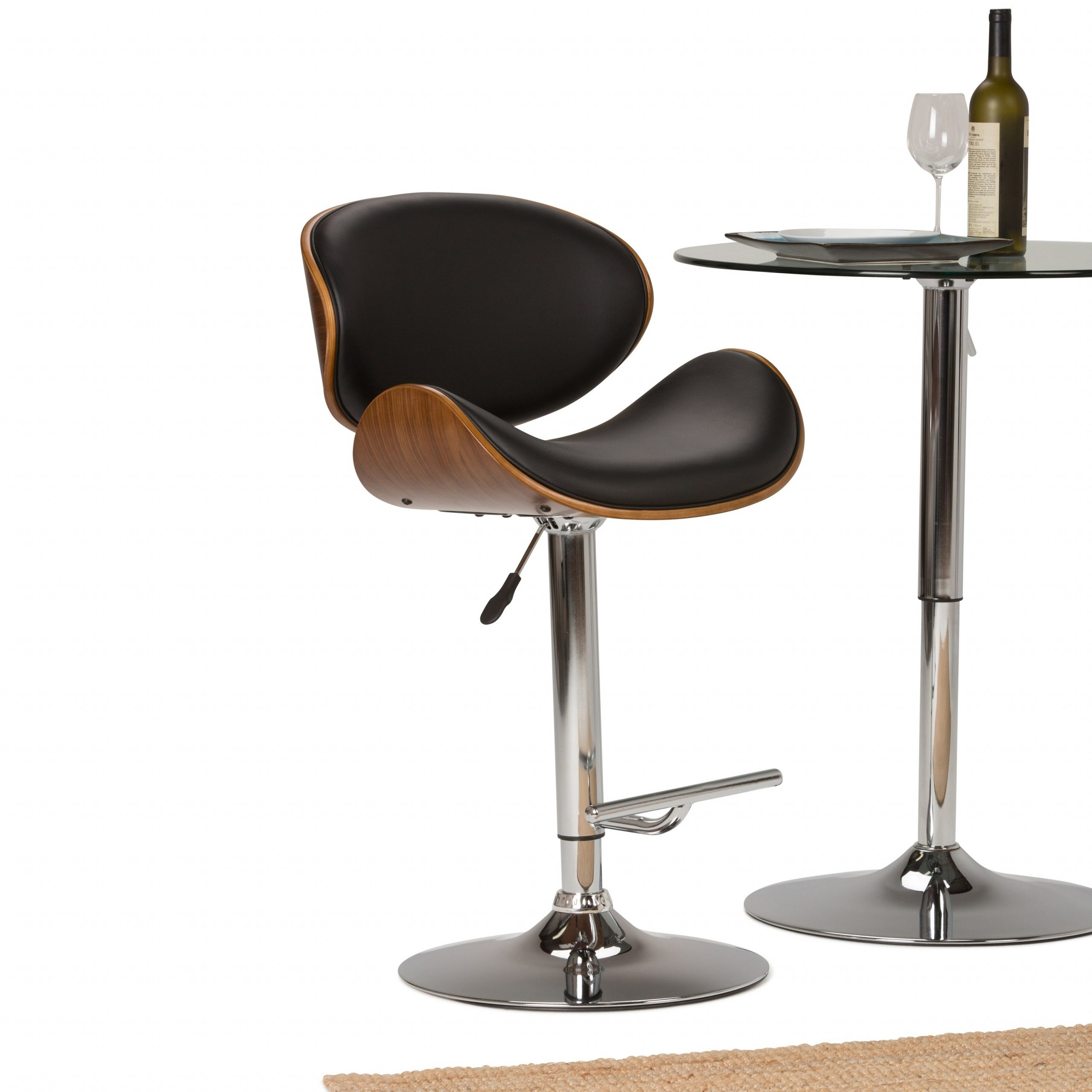 Wyndenhall Avondale Mid Century Modern Bentwood Adjustable Height Gas Lift Bar Stool – 21 W X 20 D X 45 H Throughout 2017 Avondale Counter Height Dining Tables (View 24 of 25)
